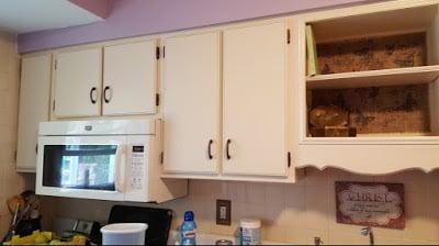 BEFORE:  Microwave cabinet hangs too low